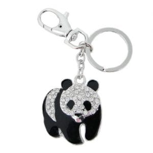 EVER-FAITH-Plump-Panda-Keychain-Clear-Austrian-Crystal-Silver-Tone-0
