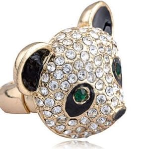 Golden-Tone-Emerald-Eye-Crystal-Rhinestone-Cartoon-Panda-Bear-Fashion-Adj-Ring-0