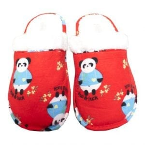 Leisureland-Womens-Flannel-Cozy-Slippers-Panda-Red-0