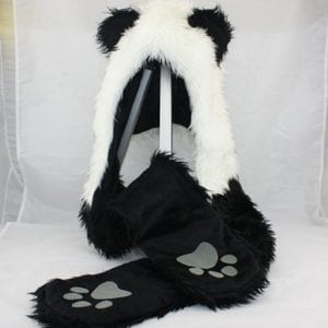 Panda-Animal-Hood-Faux-Fur-Hat-with-Warm-Scarf-Mittens-Ears-and-Paws-Spirit-0