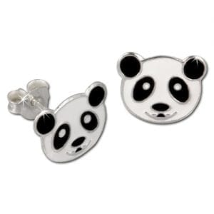 Tee-Wee-stud-earring-panda-bear-white-and-black-enameled-925-Sterling-Silver-SDO8103W-0