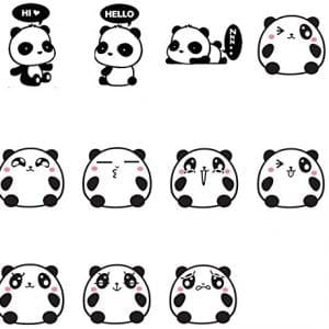 11PCS-Cartoon-Cute-Panda-Funny-Expression-Switch-Stickers-Black-Vinyl-Wall-Decals-Home-Decoration-0