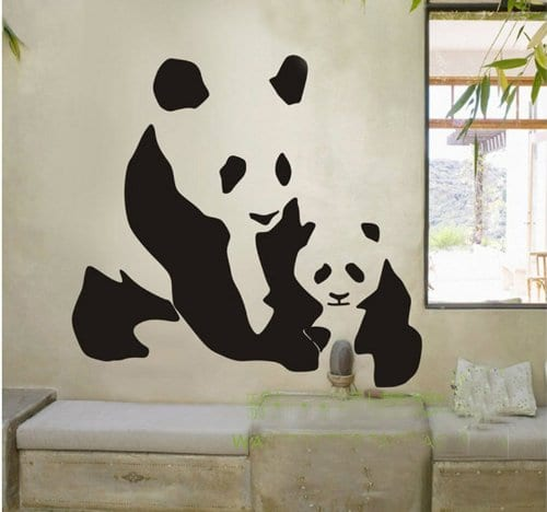 Animal Chinese Pandas Wall Decal Sticker Living Room Stickers Vinyl  Removable Black Color Wide 60cm High 60cm