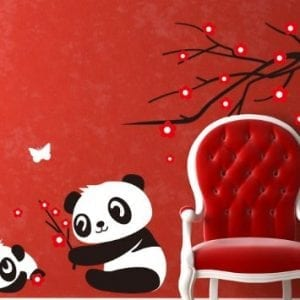 Hotportgift-Two-Cute-Baby-Panda-Wall-Sticker-Home-Decoration-Panda-and-Cherry-Blossom-Tree-0
