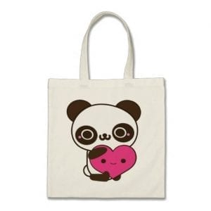 Hugging Heart Panda Tote Bag