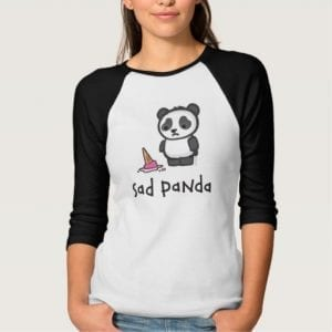 Sad Panda Dropped Ice Cream Ladies T Shirt