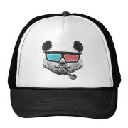 Vintage Style Panda 3D Glasses With Pipe Trucker Hat