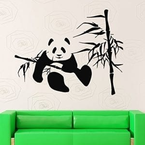 Wall-Stickers-Vinyl-Decal-Bamboo-Panda-Funny-Animal-Lazy-for-Kids-Nursery-ig229-0