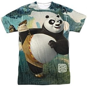 Kung-Fu-Panda-Cartoon-Action-Movie-Po-Stretching-Adult-Front-Print-T-Shirt-0