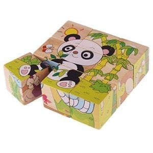 Rolimate-Forest-Animal-Wooden-Cube-Block-Jigsaw-Puzzles-Kangaroo-Ostrich-Camels-Apes-Snakes-Panda-0