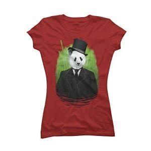 Classy-Panda-Womens-X-Large-Red-Graphic-T-Shirt-Design-By-Humans-0
