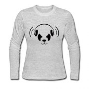Cool-Nerd-Panda-Long-Sleeve-T-shirt-For-Woman-Gray-Medium-0