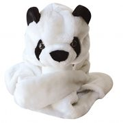 Plush-Faux-Fur-Animal-Critter-Hat-Cap-Soft-Warm-Winter-Headwear-Short-with-Ear-Poms-and-Flaps-Long-with-Scarf-and-Mittens-available-Panda-3pc-Scarf-Mittens-0