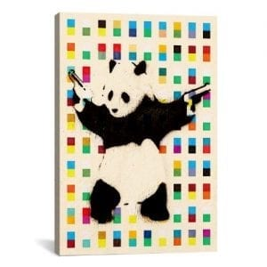 iCanvasART-2075E-Panda-with-Guns-Bright-Dots-Canvas-Print-by-Banksy-26-by-18-Inch-075-Inch-Deep-0