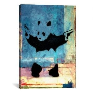 iCanvasART-Panda-with-Guns-Blue-Square-Canvas-Art-Print-by-Banksy-12-by-8-Inch-0