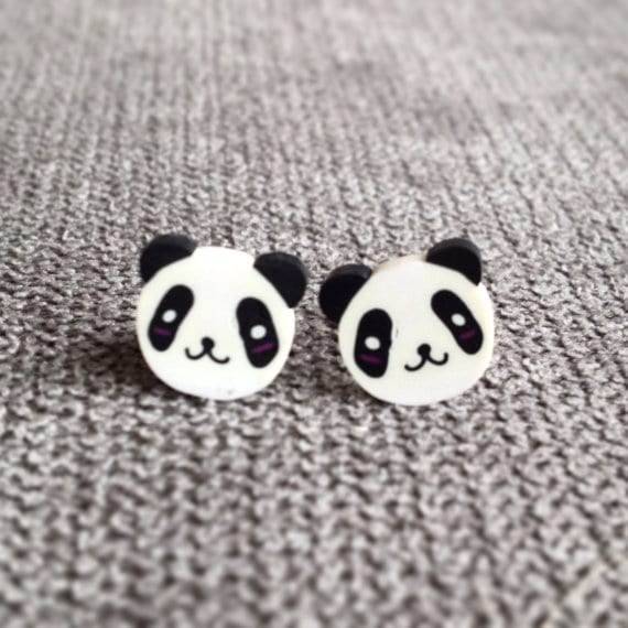 happy smiling panda stud earrings