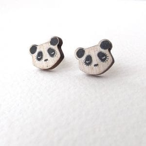 wooden sleeping panda stud earrings