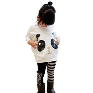Chinatera-2Pcs-Kids-Little-Girls-Cartoon-Outfits-Panda-Coat-Top-Striped-Pants-100-90-100cm-for-2-3Y-0