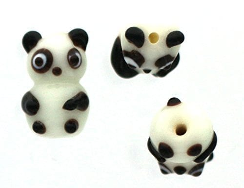 Panda-Bear-Approx-15mmx25mm-10-Lampwork-Glass-Beads-0