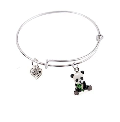 50-mm-SMALL-Expandable-Bangle-bracelet-with-3-D-Baby-Panda-and-Heart-Charms-Qty1-0