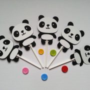 panda cupcake decorations with different colored buttons