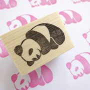 panda print stamp wood block