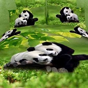A-Product-Queen-Size-100-Cotton-4-pieces-3d-Panda-Green-Leaf-Prints-Duvet-Cover-Setbed-Linensbed-Sheet-Setsbedclothesbedding-Setsbed-Setsbed-Covers-0