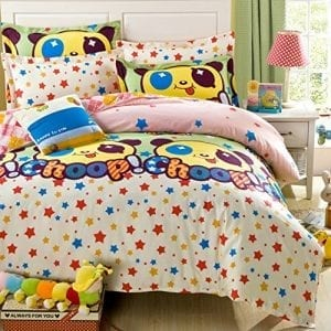 Auvoau-Stars-Cute-Panda-Beige-Pink-Kids-Girld-Duvet-Cover-Bedding-Sets-Full-Size-5pc-with-comforter-0