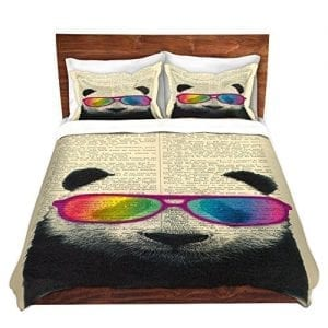 Duvet-Cover-Brushed-Twill-Twin-Queen-King-SETs-from-DiaNoche-Designs-By-Madame-Memento-Panda-Bear-Rainbow-Sunglasses-Bedroom-and-Bedding-Ideas-0