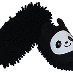 HomeTop-Plush-Fluffy-Cute-Animal-Microfiber-Mop-Cleaning-House-Slippers-Shoes-For-Women-8-9-L-BlackWhite-Panda-0