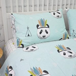 LELVA-Panda-Print-Duvet-Cover-Set-Kids-Bedding-Set-Girls-and-Boys-Bedding-Cotton-Childrens-Bedding-3-Piece-Twin-Flat-Sheet-0
