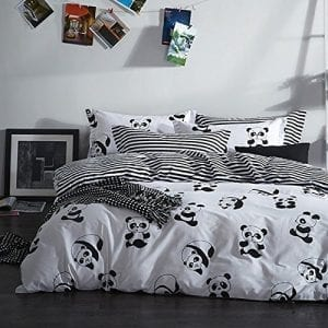 MZPRIDE-Black-and-White-Duvet-Cover-Set-100-Cotton-Black-and-White-Panda-Bedding-Twin-0
