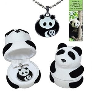 Panda-mother-with-baby-cub-necklace-gift-set-in-black-and-white-velour-panda-jewelry-box-with-fun-quote-panda-bookmark-0