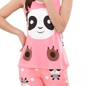 Lasher-Womens-Cute-Panda-Short-Sleeve-Pjs-Sleepwear-Set-Cartoon-Shorts-Pajamas-Red-M-0