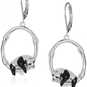 Rhodium-Plated-Sterling-Silver-Panda-on-Bamboo-Branch-Dangle-Earrings-0