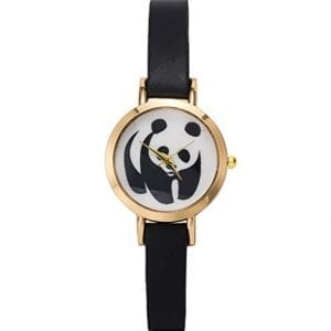 Samgo-Womens-Retro-Panda-PU-Thin-Strap-Leather-Quartz-Watch-Black-0