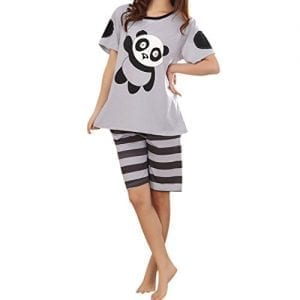 Uniquezone-Fashion-Cartoon-Panda-Short-Sleeve-Pajamas-Suits-0
