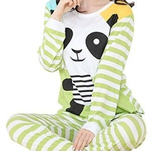 VENTELAN-Womens-Cow-Printed-Pajamas-Set-Long-Sleeve-Sleepwear-Brief-Loungewear-A-Green-Panda-XL-USA-Size16-18-A-Green-Panda-XL-USA-Size16-18-0