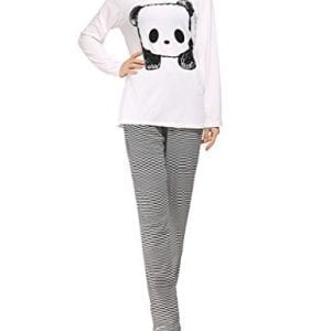 VENTELAN-Womens-Cute-Panda-Striped-Long-Sleeve-Sleepwear-Pjs-Pajama-Set-NightyA-Panda-WhiteSmallUS-4-6-0