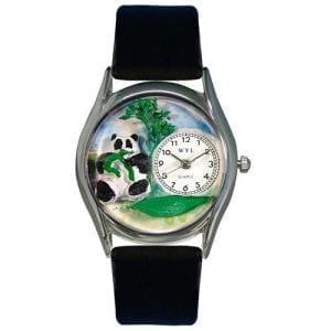 Whimsical-Watches-Womens-S0150001-Panda-Bear-Black-Leather-Watch-0