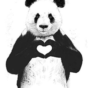 All-You-Need-is-Love-Black-And-White-Panda-Bear-One-11x14in-Poster-Print-0