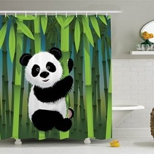 Ambesonne-Cartoon-Decor-Collection-Curious-Baby-Panda-on-Stem-of-the-Bamboo-Bear-Jungle-Nature-Wood-Design-Pattern-Polyester-Fabric-Bathroom-Shower-Curtain-75-Inches-Long-Green-Blue-Black-White-0
