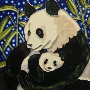 Continental-Art-Center-BD-0417-8-by-8-Inch-Panda-Mother-and-a-Baby-Ceramic-Art-Tile-0