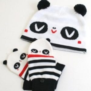 Crowded-Teeth-Panda-Cold-Weather-Beanie-HAT-CAP-and-Gloves-SET-0