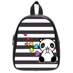 Lovely-and-Funny-Pandas-Kids-School-Bag-Grey-White-stripes-PU-leather-Backpack-0