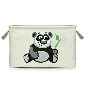 Proper-Fulfillment-Canvas-Storage-Basket-and-Organizer-with-Handles-Collapsible-Best-Choice-for-Toy-Storage-Kids-Books-Baby-Clothing-Laundry-Bin-Panda-0