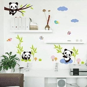 ... Decor Removable DIY 3D Panda Bamboo Birds Flying Butterfly Wall Decals  Kids Room Decorations Wall Stickers Murals Peel Stick Girls For Bedroom  Classroom