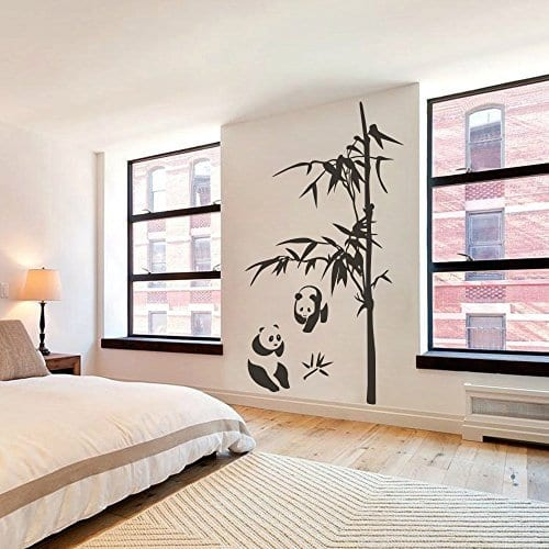 Asian Bamboo Wall Decal Vinyl Bamboo Wall Sticker Panda Wall Garphic Wall  Mural Home Art Decor Black