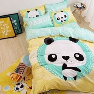 HIGOGOGO-Full-Size-Home-Textiles-100-Cotton-Panda-Duvet-Cover-Set-Yellow-Bedding-Set-4-pieces-0