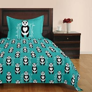 Brizan-Cotton-Blue-Bedsheet-Panda-Printed-With-1-Pillow-Sham-200-Tc-Home-Decor-0